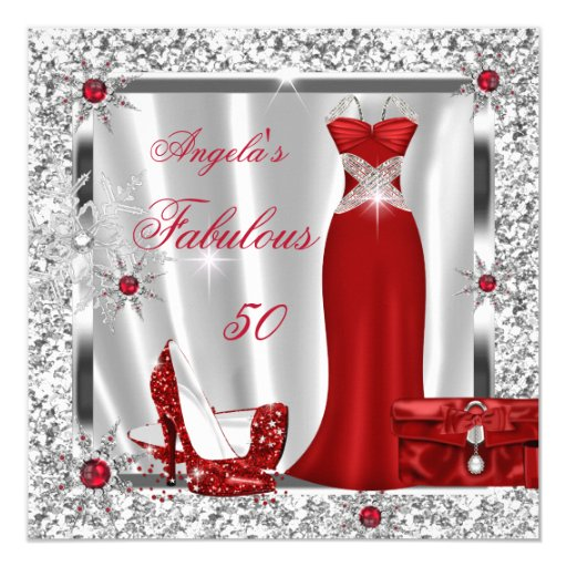 Fab 50 People: Fabulous 50 Party Red Silver Snowflakes Card