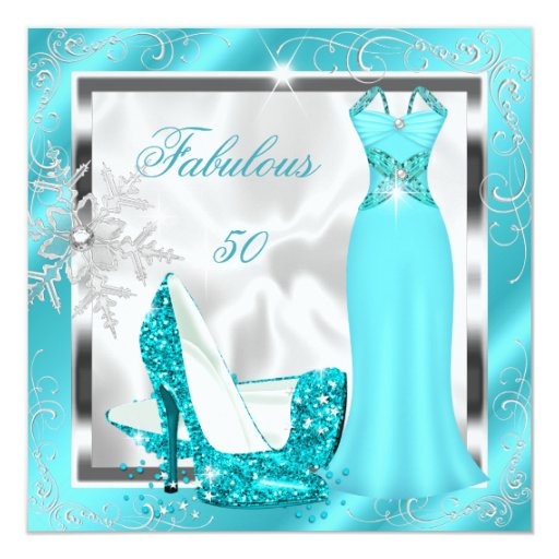 Fab 50 People: Fabulous 50 Party Teal Blue Silver Dress Heels S10 Card