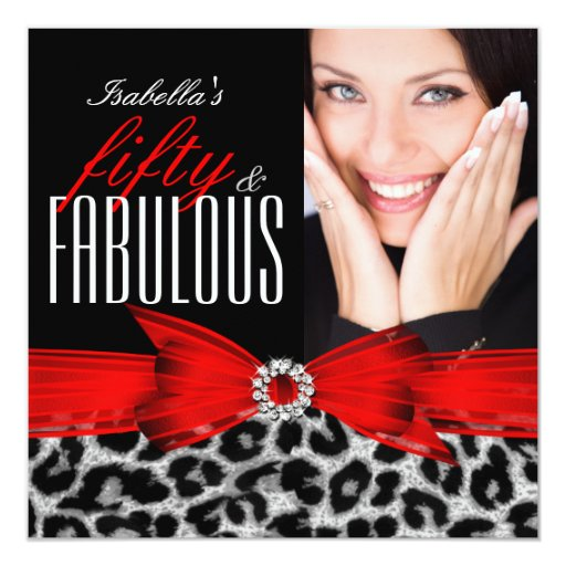 Fab 50 People: Fabulous 50 Red Black Leopard Photo Birthday Party Card