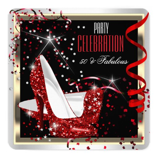 Fab 50 People: Fabulous 50 Red Black White 50th Birthday Party 2 Card
