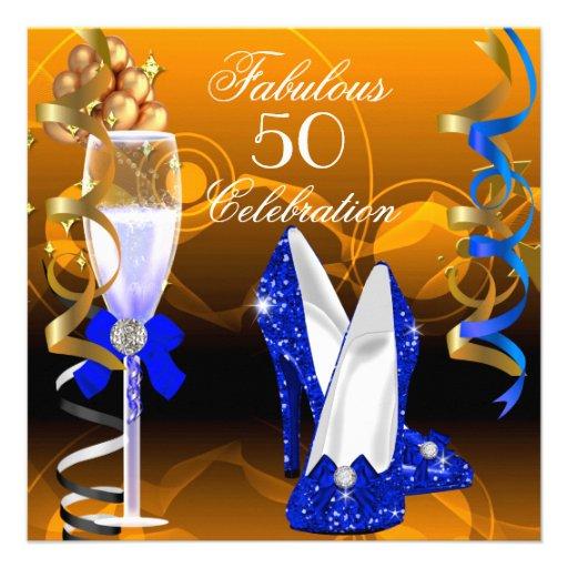 Fab 50 People: Fabulous 50 Royal Blue Gold Orange Birthday Party 5.25x5