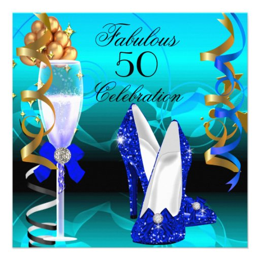Fab 50 People: Fabulous 50 Royal Blue Teal Gold Birthday Party 5.25x5.25