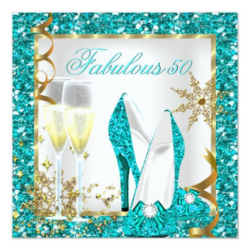 Fab 50 People: Fabulous 50 Teal Blue Glitter Gold Birthday Party