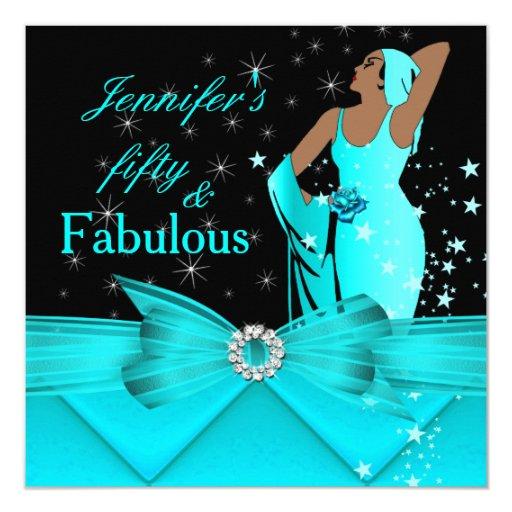 Fabulous 50 Birthday Women: Fabulous 50 Teal Glamorous Retro Woman Birthday Card