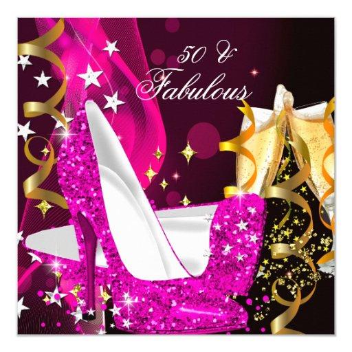 Fabulous 50 Birthday Women: Fabulous 50 Woman's Hot Pink Gold Birthday Party