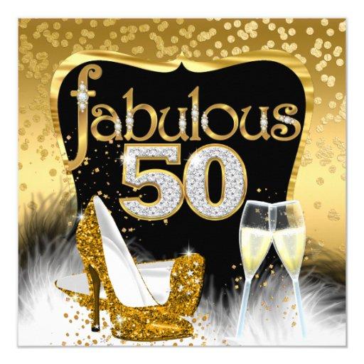 Fab 50 People: Fabulous 50th Birthday Party Gold Diamond Glitter Card