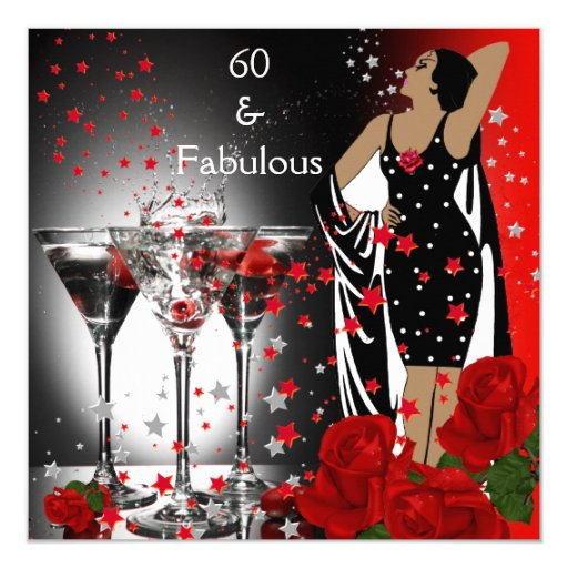 Fabulous 60 60th Birthday Party Red Roses Martini Invitation