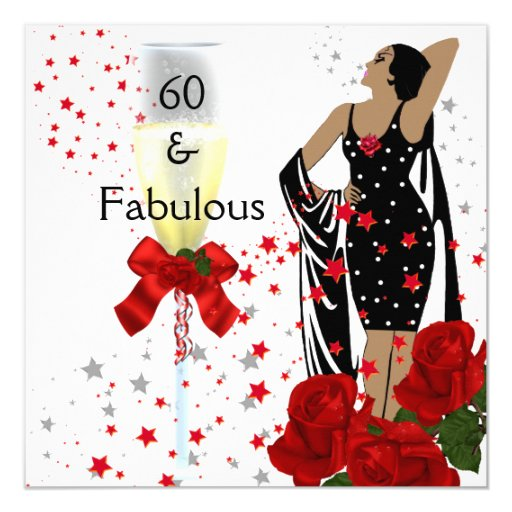Fabulous 60 60th Birthday Party Red Roses White Invitation