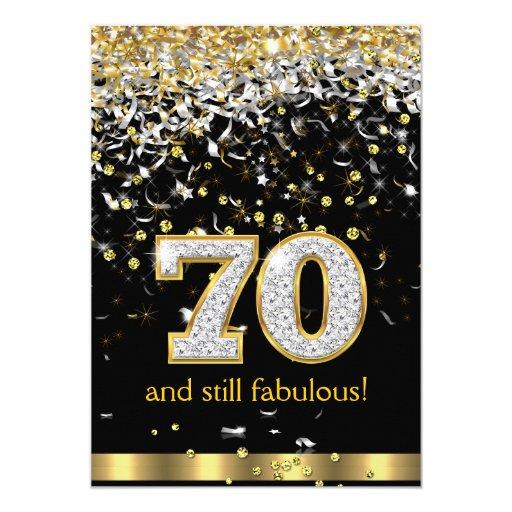 Fab At 70: Fabulous 70 Gold Silver Streamers 70th Birthday B 5x7