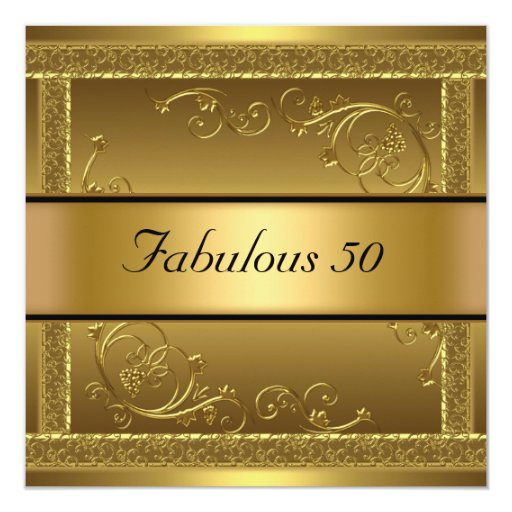 Fab 50 People: Fabulous At 50 Birthday Party Gold Invitation