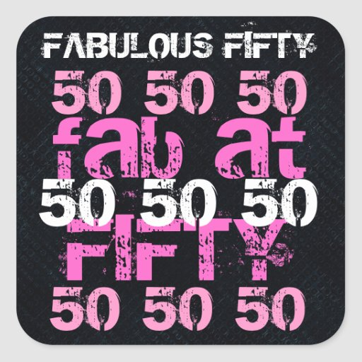 Fab 50 People: Fabulous Fifty 50 Birthday Black Pink Party Square Sticker