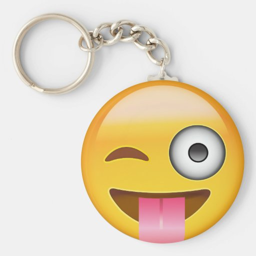 Face With Stuck Out Tongue And Winking Eye Emoji Keychain ...