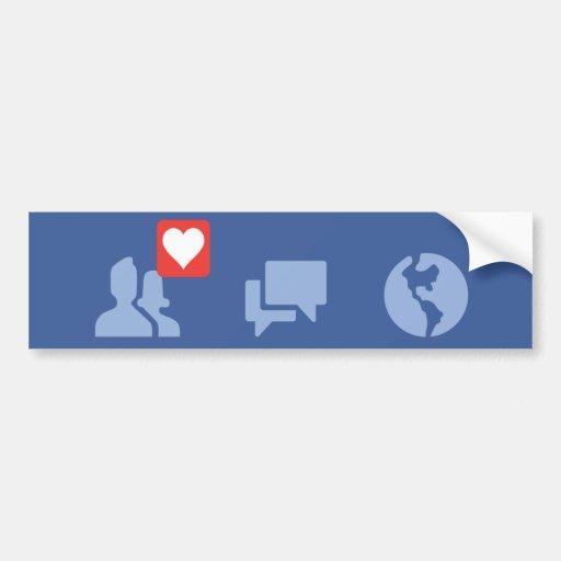 facebook love icons bumper sticker | Zazzle
