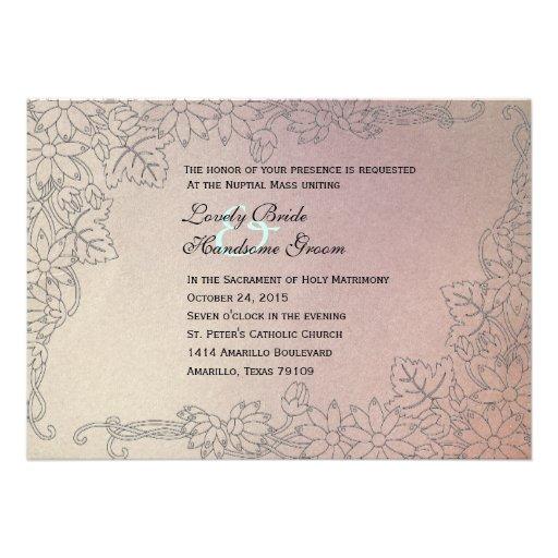Catholic Wedding Invitations: Faded Lilac Catholic Wedding Invitation