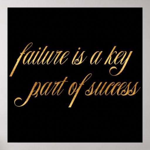 Inspirational Quotes About Failure: Failure Success Quote Gold Faux Foil Inspirational Poster