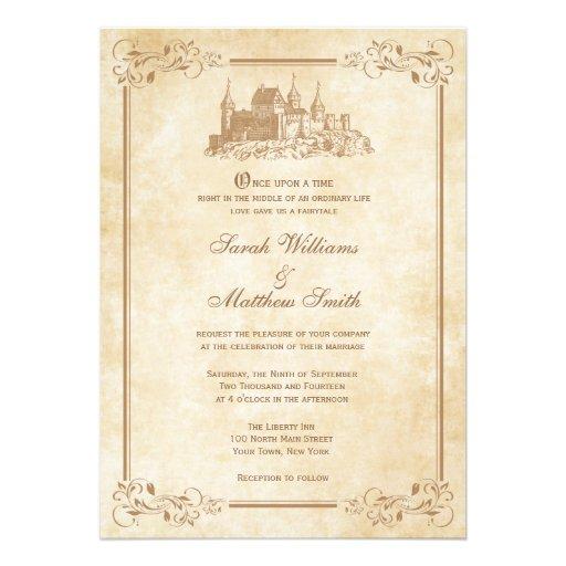 """Fairytale Invitations Wedding: Fairytale Castle Wedding Invitations 5"""" X 7"""" Invitation"""