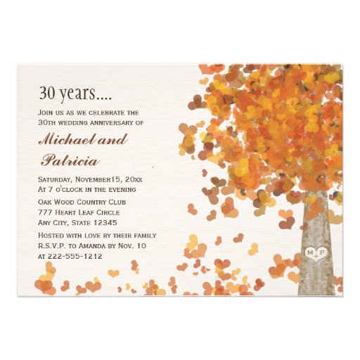 "Fall Wedding Anniversary Ideas: Fall 30th Wedding Anniversary Photo Invitations 5"" X 7"