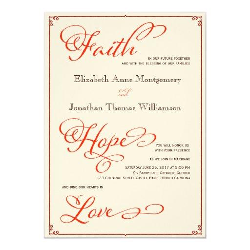 Fall Color Wedding Invitations: Fall Colors Faith Hope Love Wedding Invitation