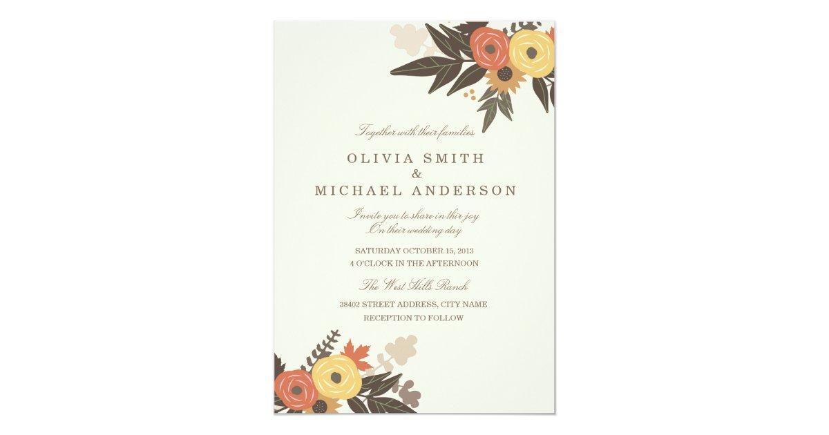 Fall Color Wedding Invitations: Fall Foliage Wedding Invitation