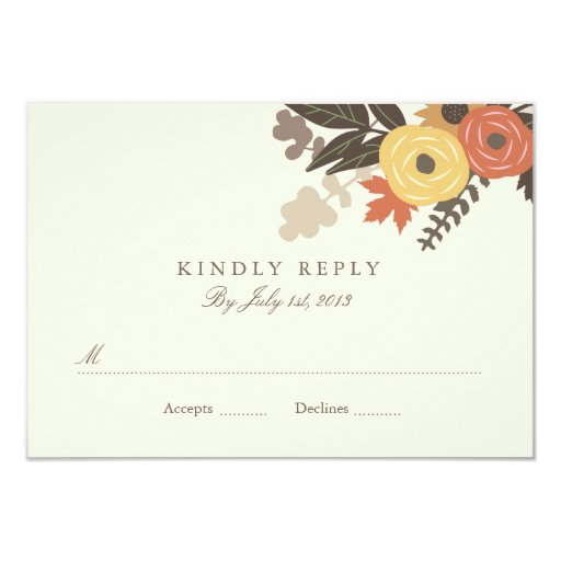 Fall Color Wedding Invitations: Fall Foliage Wedding RSVP Postcard 3.5x5 Paper Invitation