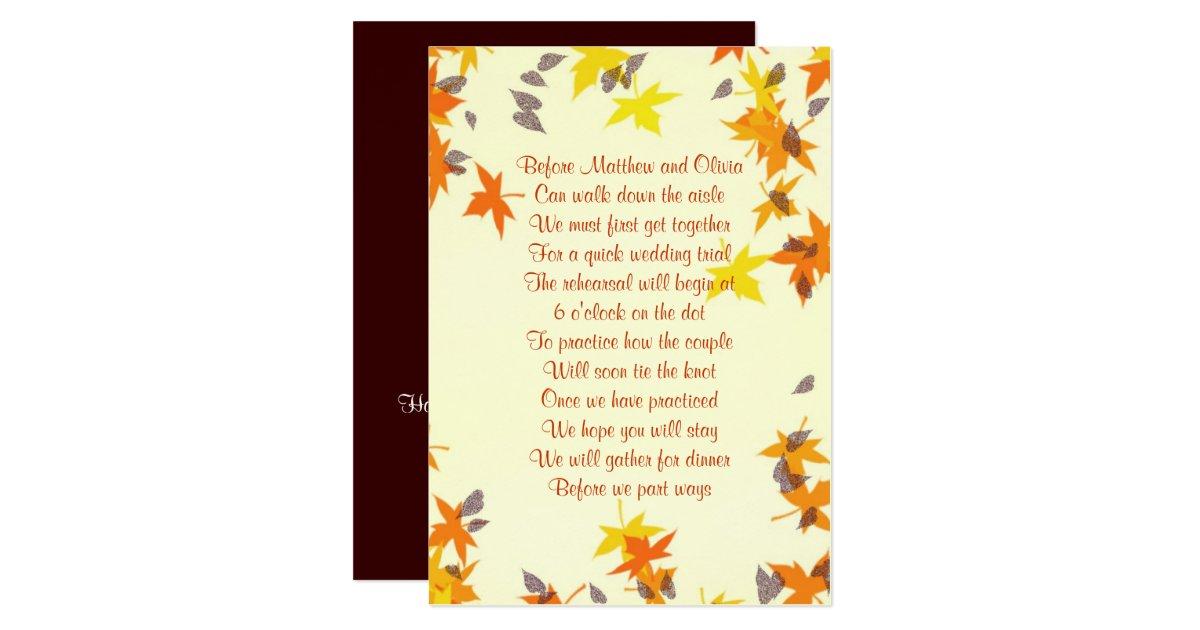 Fall Leaves Rehearsal Dinner Poem Invitation Zazzle