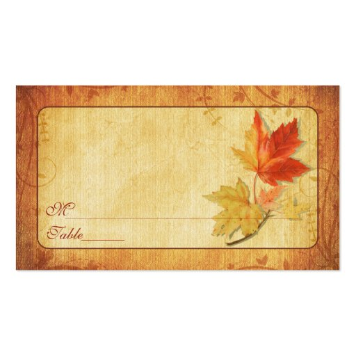 double sided place card template - fall leaves special occasion place cards double sided