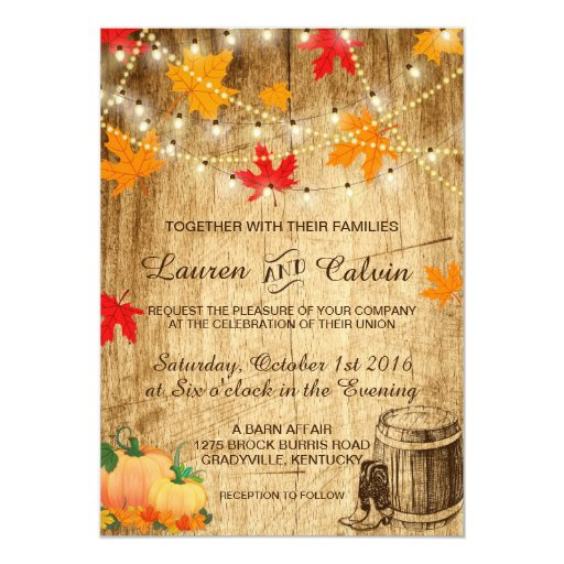 Fall Wedding Invitations: Fall Wedding Invitation For A Rustic Wedding