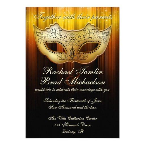 Masquerade Wedding Invitations: Fancy Flourish Gold Masquerade Wedding Invite