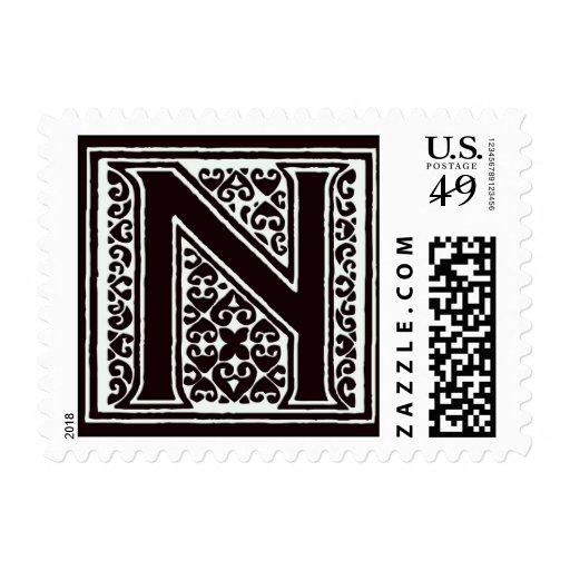 Fancy font Black and White Monogram - Letter N Postage ...