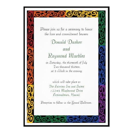 Fancy Gay Pride Custom Commitment Ceremony Invites