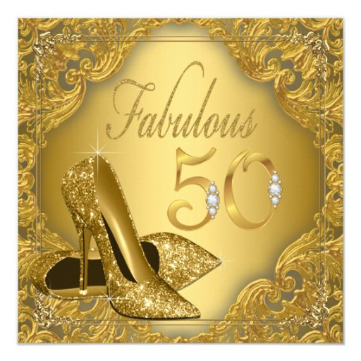 50 And Fabulous Text: Fancy Gold High Heel Fabulous 50th Birthday Card
