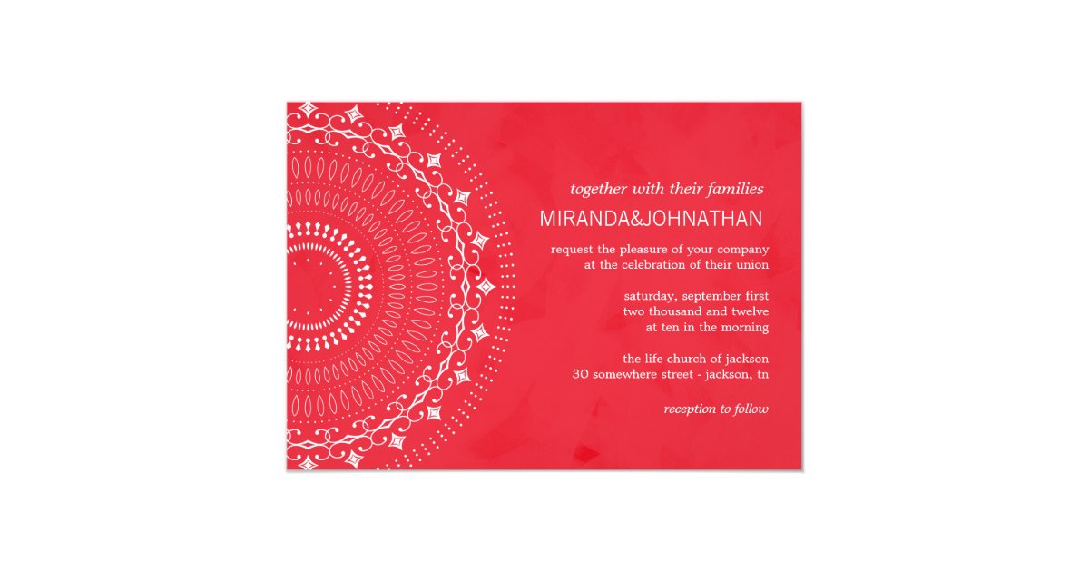 Photographic Wedding Invitations: Fancy Red Design Photo Wedding Invitations