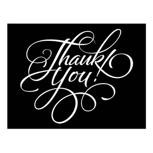 Fancy Script Black and White Thank You Card | Zazzle