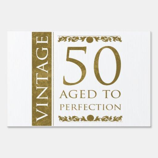 Fancy Vintage 50th Birthday Lawn Sign