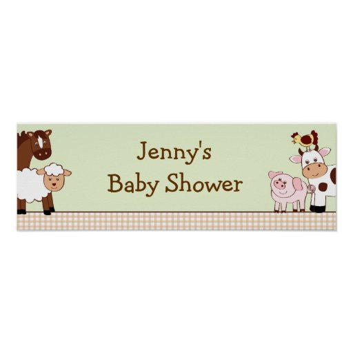 Baby Shower Custom Banners: Farm Animals Personalized Baby Shower Banner Poster