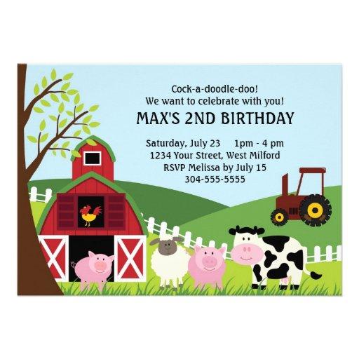 Farm Kids Birthday Invites
