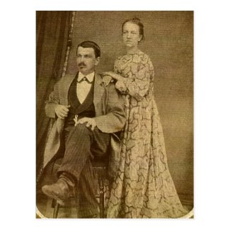 Fashionable Newlywed Couple circa 1870 Post Card