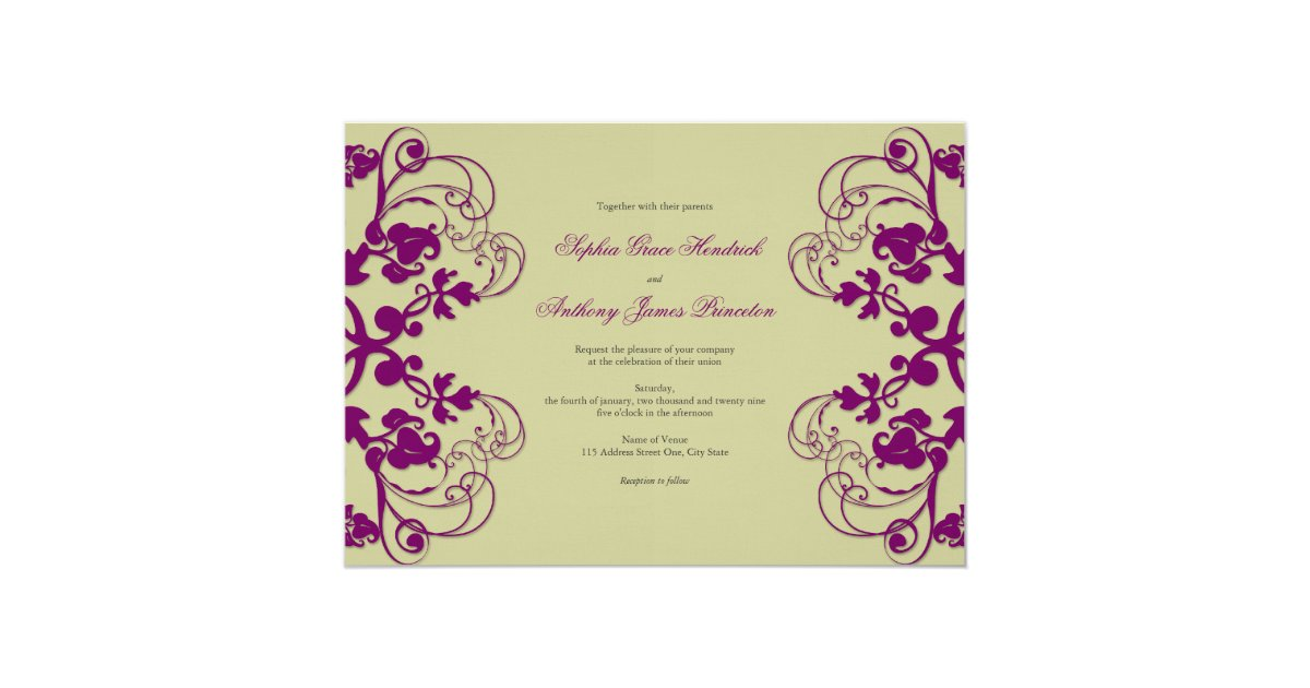 Flourish Wedding Invitations: Fatfatin Floral Flourish Purple Wedding Invitation