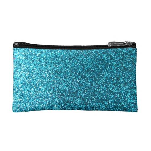 Faux Blue Glitter Makeup Bag | Zazzle