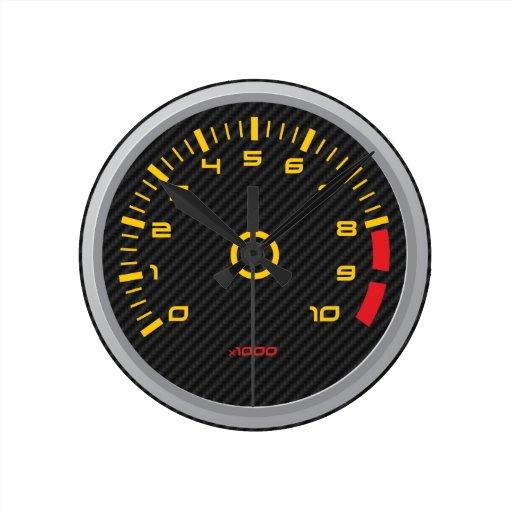 Faux Carbon Fiber Car Rpm Gauge Wall Clock Zazzle