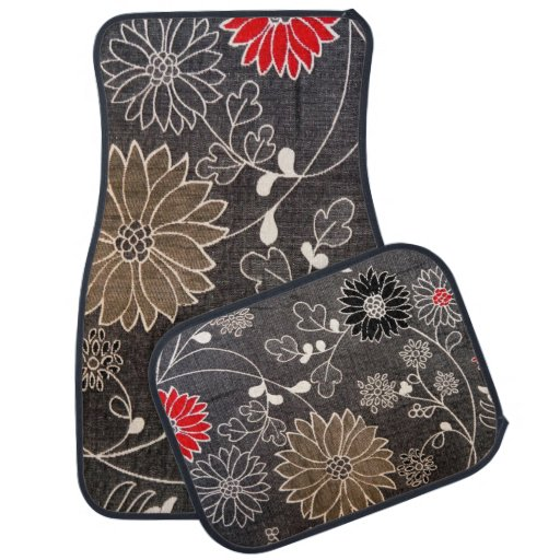 Faux Floral Textile With Red Brown White Flowers Car Mat