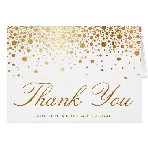 Faux Gold Foil Confetti Elegant Thank You Card