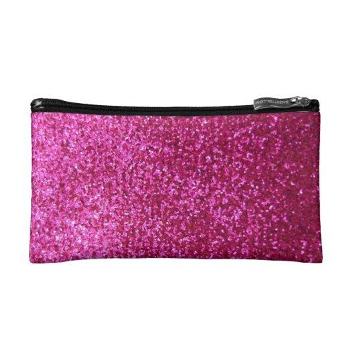Faux Hot Pink Glitter Makeup Bag | Zazzle