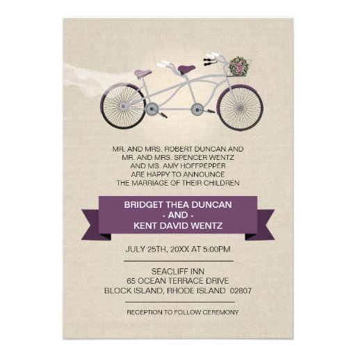 Faux Linen Plum Tandem Bicycle Wedding 5x7 Paper