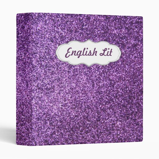 Faux Purple Glitter 3 Ring Binder