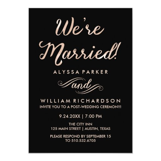 Post Wedding Party Invitation: Faux Rose Gold And Black Post Wedding Ceremony Card