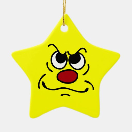 Fed Up Smiley Face Grumpey Christmas Ornament | Zazzle