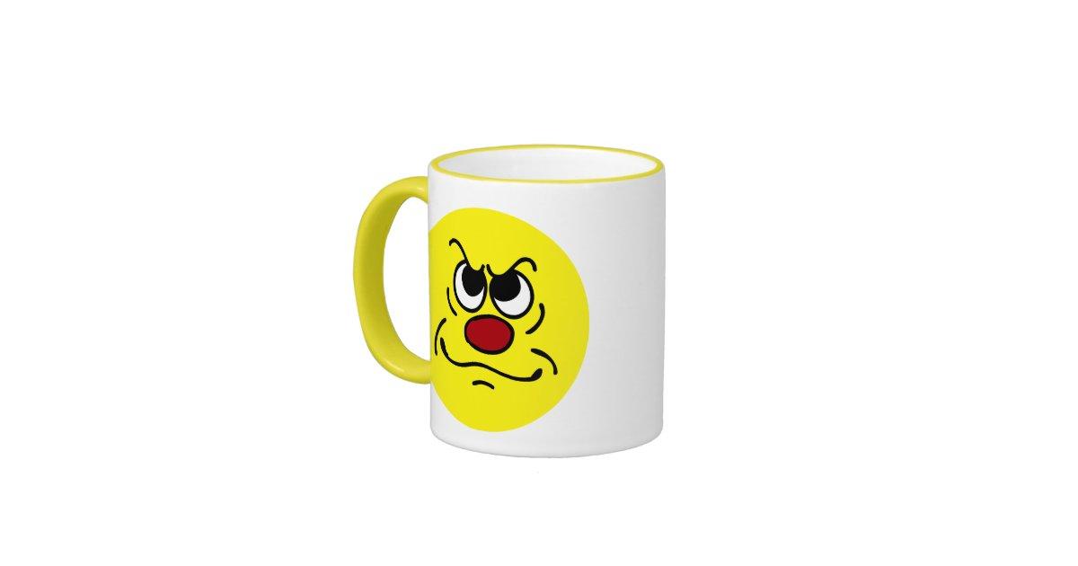 Fed Up Smiley Face Grumpey Ringer Mug | Zazzle