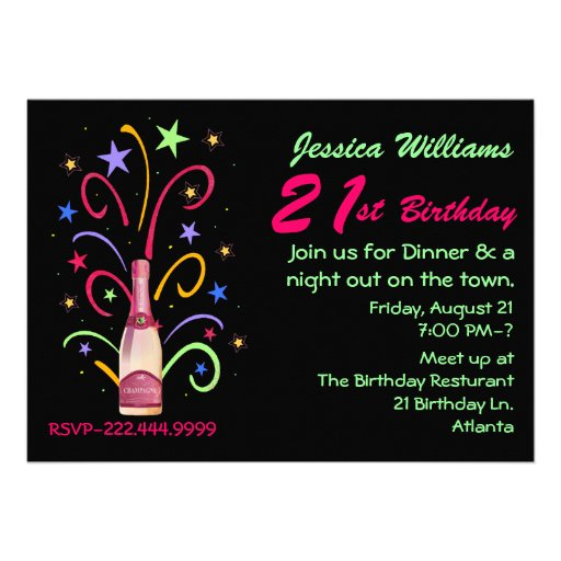 "Festive 21st Birthday Invitation 5"" X 7"" Invitation Card"