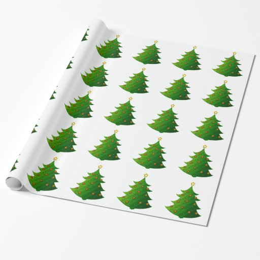 Festive Christmas Tree Wrapping Paper | Zazzle